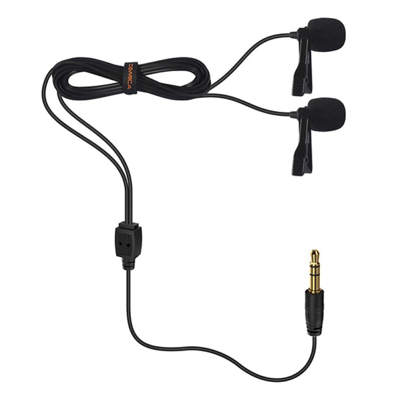 Петличный микрофон COMICA Dual-head Lavalier Microphone CVM-D02 (R/B6.0m)