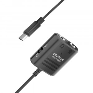 Адаптер COMICA Multi-Functional 3.5mm (support both TRS and TRRS 3.5mm Mics) to USB TYPE-C Audio Cable Adapter